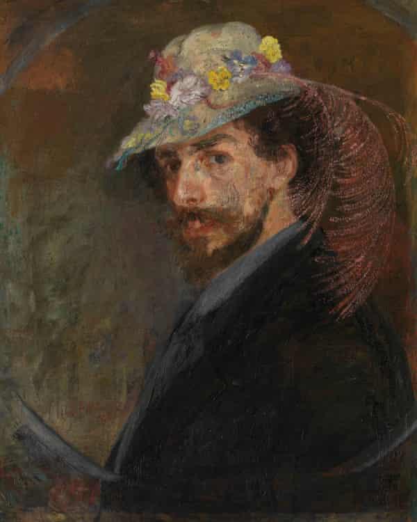 James Ensor's Self-portrait with Flowered Hat (1883).