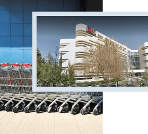 Grupo Bimbo HQ overlaid on image of shopping trolleys