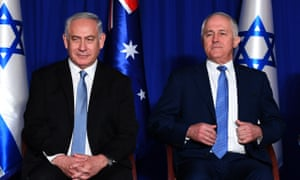 Benjamin Netanyahu (left) with Malcolm Turnbull at a welcome ceremony in Jerusalem, Israel, on 30 October, 2017.