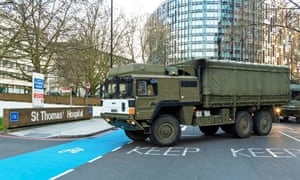 Picture taken from the Twitter feed of @DefenceHQ of soldiers delivering personal protective equipment to St Thomas' hospital, in London, on 24 March.