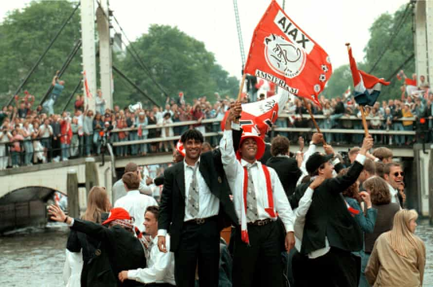 Ajax celebrate winning the 1995 Champions League under Van Gaal. He says this parade was his 'most exciting moment in football'.