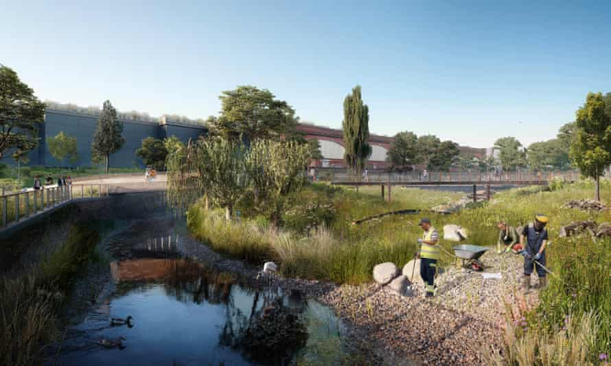 CGI image of workers at the new Mayfield Park