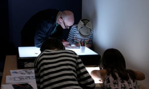 Caricaturing on a light box with Marie-Helene Jeeves at Guardian cartoon and art family day, 10 October 2015.