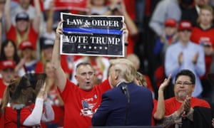 Donald Trump and supporters at a campaign rally in Minnesota