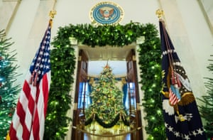 2018 - The official White House Christmas tree is seen in the Blue Room at the White House.