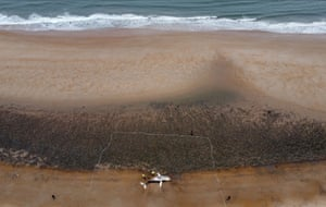 A whale washed up on the shore of Blyth beach, Northumberland.