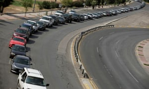 Cars stand in line at the Cordova bridge at the Mexico-US border to enter into El Paso, Texas, in Ciudad Juarez, Mexico.