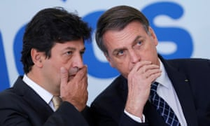 Jair Bolsonaro, right, with Luiz Henrique Mandetta, whom he has fired as health minister