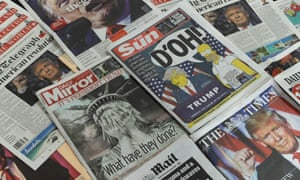 UK national newspapers front pages following Donald Trump's US presidential victory.