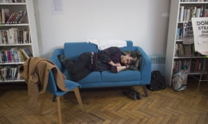 Protester sleeping in Carnegie Library