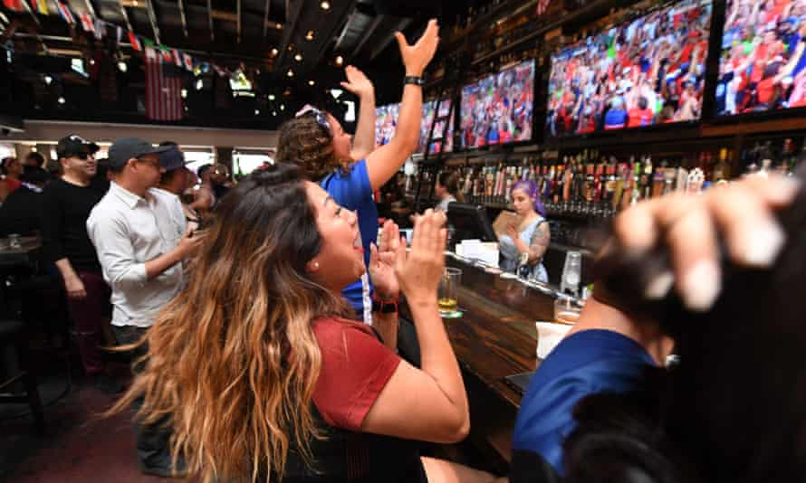 USA fans watch the Women's World Cup quarter-final in a Los Angeles bar.