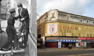 Paul McCartney arrives at the Scarborough Futurist for a Beatles gig in 1964, and the theatre exterior in 2008.