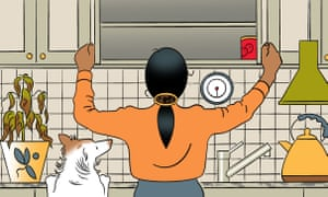 illustration of woman looking in bare cupboards
