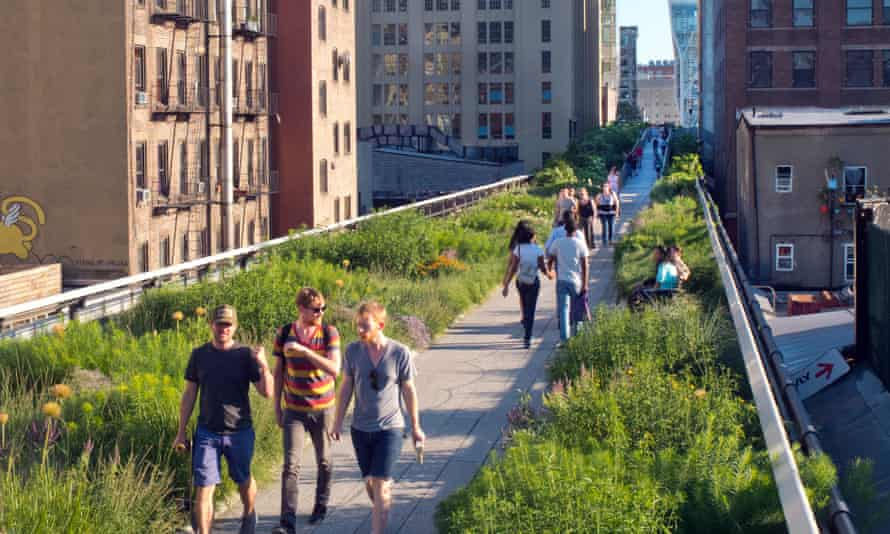 The High Line park garden in Manhattan, New York, built on a disused elevated railway.