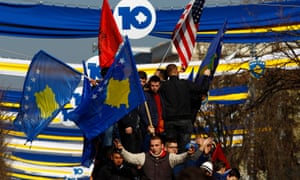 People take part in celebrations of the 10th anniversary of Kosovo's independence in Pristina, Kosovo, on 17 February.