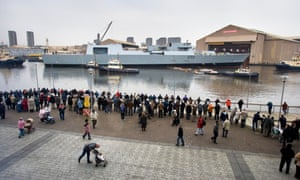 HMS Daring is launched at Scotstoun on the Clyde in 2006.