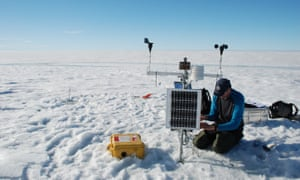 Luke Copeland maintains a small weather station on the ice shelf of Milne.