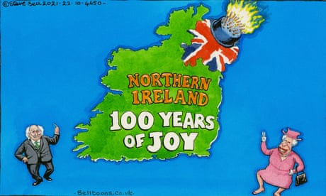 Steve Bell on the missing guests at Northern Ireland's centenary – cartoon