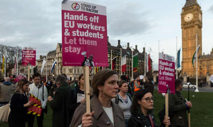 Protesters outside parliament before yesterday's article 50 vote