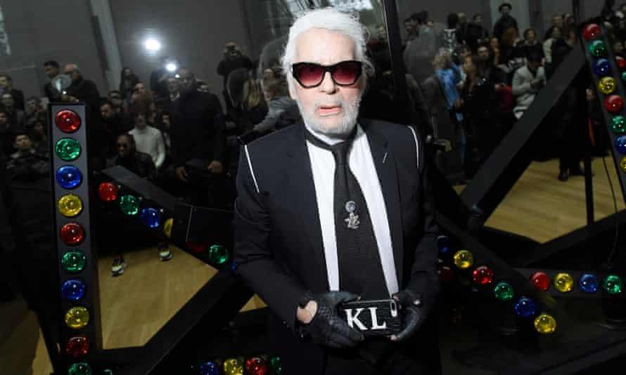 Karl Lagerfeld at Paris fashion week in 2018