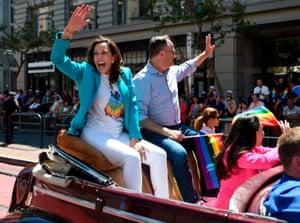 Kamala Harris at San Francisco's gay pride parade in 2018.