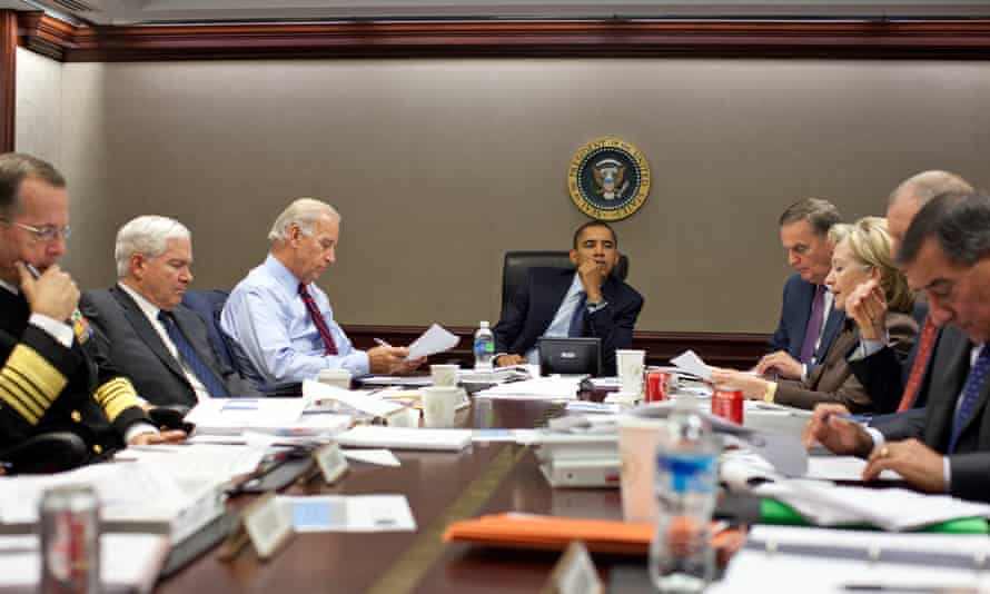 President Barack Obama listens during a meeting with top advisers about Pakistan in 2009.