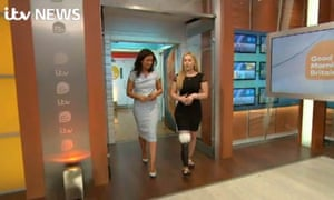Video grab of presenter Susanna Reid (left) walking on to the Good Morning Britain set with Vicky Balch.