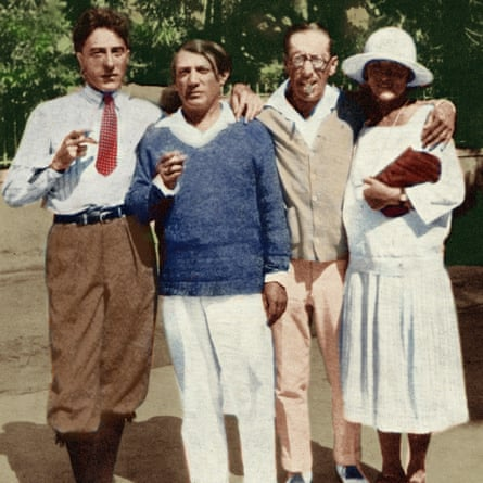 Famous in France … from left, Jean Cocteau, Pablo Picasso, Igor Stravinsky and Olga Picasso in Antibes, 1926.
