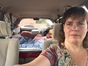 After Jamie Kahn was evicted she moved into her black 1995 Camry station wagon where she has been sleeping ever since, often stationed in Walmart parking lots.