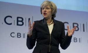 British Prime Minister Theresa May addresses delegates at the annual Confederation of British Industry (CBI) conference in London.