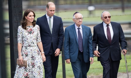 The Duke and Duchess Of Cambridge with two survivors of the Stutthof concentration camp in Poland.