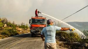Firefighter in Bodrum district, Turkey