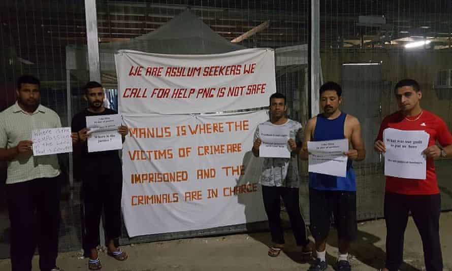 Asylum seekers protest on Manus Island.