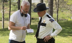 Right side of the law: Woody as a small town cop with his director Martin McDonagh on the set of Three Billboards Outside Ebbing, Missouri.