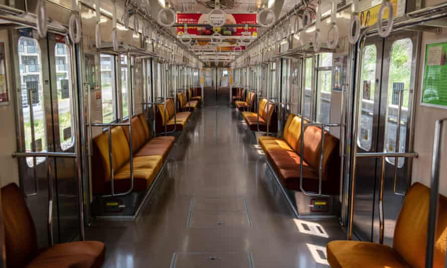 An empty train carriage in Tokyo, 2 May.