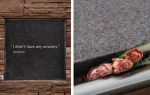 Inscriptions and flowers at the Columbine memorial in Littleton, Colorado.