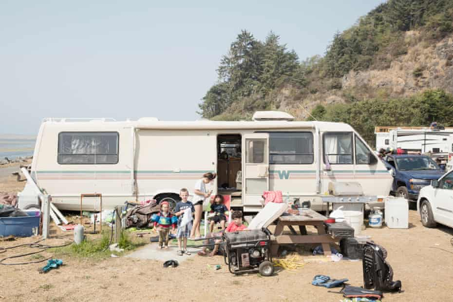 Yurok kids at the RV park by the port which fishers use to head out to the mouth of the Klamath River.
