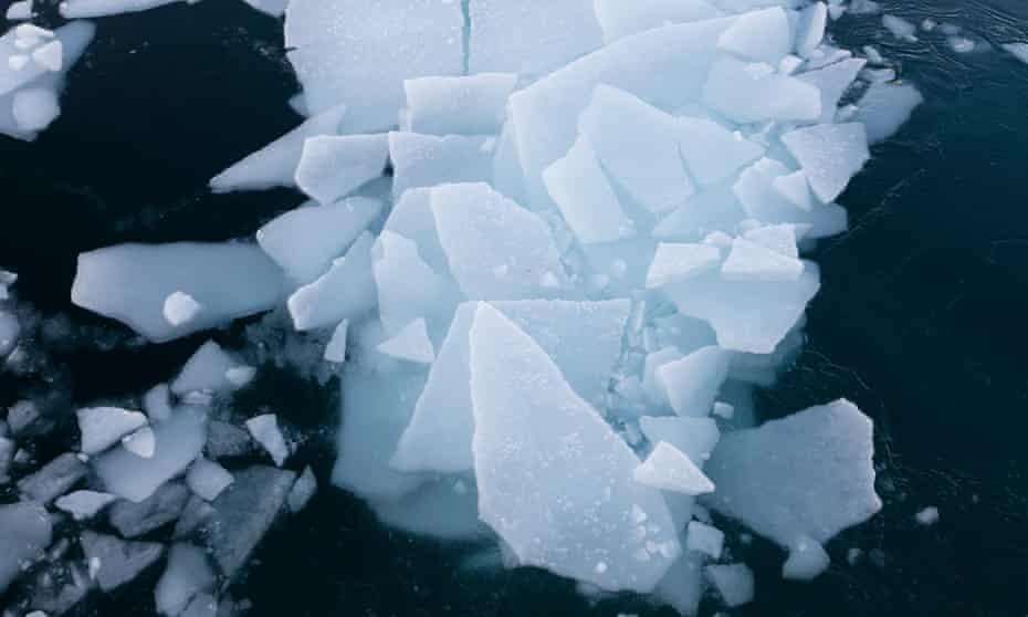 Ice in Arctic ocean in Svalbard