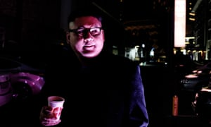 A Kim Jong-un impersonator, known only as Howard, at a nightclub in the Winter Olympic town of Gangneung, South Korea.