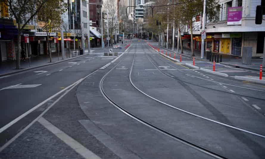 An empty street in the central Sydney