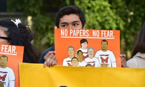 Demonstrators attend a rally protesting Ice deportations.