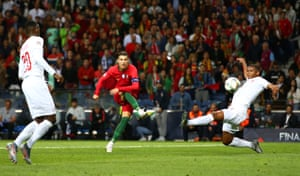 Ronaldo scores Portugal's third for his hat-trick.