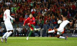 Cristiano Ronaldo completes his hat-trick for Portugal against Switzerland on Wednesday night.