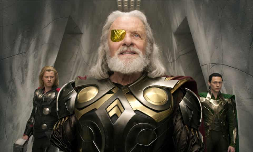 Anthony Hopkins as Odin in Thor, with Chris Hemsworth and Tom Hiddleston.