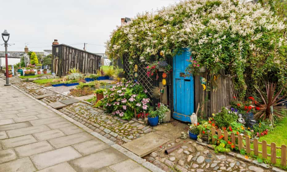 FOOTDEE OR FISHING VILLAGE IN ABERDEEN HARBOUR GARDEN AND SMALL TARRY SHED COVERED OVER BY A RUSSIAN VINE