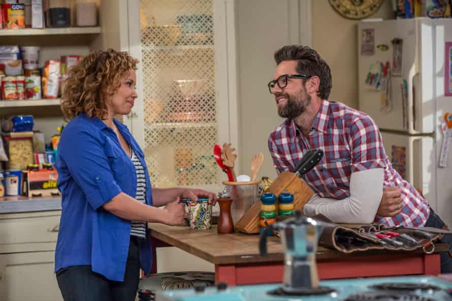 The impressive Justina Machado with Todd Grinnell in One Day at a Time.