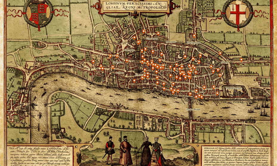 An Elizabethan map with overlaid locations of killings recorded by London coroners in the early 1300s.