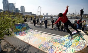 Protesters built a skateboard ramp on the bridge