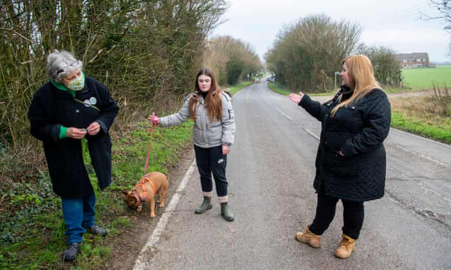 Greave, left, with Sharon McCartney and her daughter, Missy, and Violet the dog.