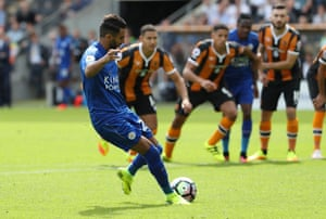 Riyad Mahrez fires in the penalty straight down the middle.